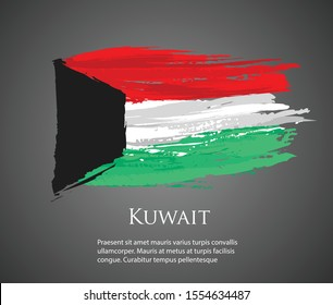 vector template Illustration Kuwait flag Asia country red white green black brush paint watercolor hand drawn stroke and texture. Grunge vector isolated on black background