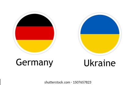 Vector template for illustration of relations between Germany and Ukraine. German and Ukrainian flags in round flat shape with captions isolated on white background. Vector banner template.