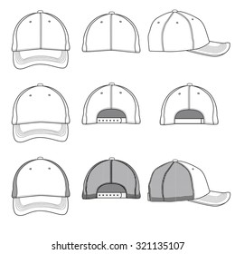 Vector template illustrations of a ball cap.