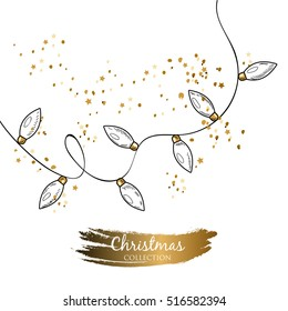 Vector template. Image of the christmas garland. Perfect for christmas greeting cards, invitation, posters and banners.