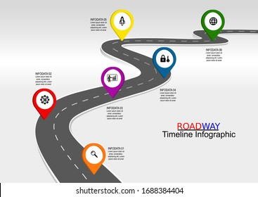 Vector template infographic Timeline of business operations with flags and placeholders on curved roads. Symbols, steps for successful business planning Suitable for advertising and presentations
