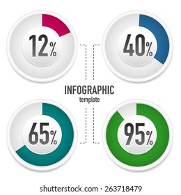 Vector template for infographics element with percentages