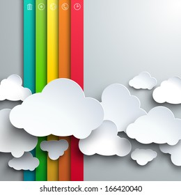 Vector template for infographics or web design - stylized paper cutout clouds and rainbow.