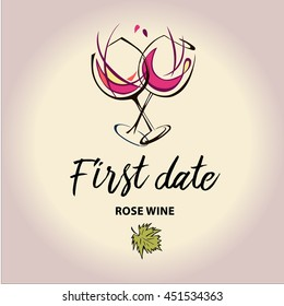 Vector template of invitation to first date with wine glass. Rose and pink wines. Element design of invite to restaurant, bar, cafe.