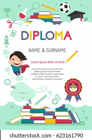 Vector template kids diploma at graduation