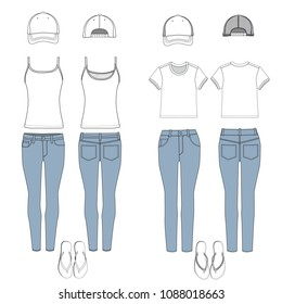 Vector template of Ladies outfit set