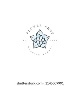 Vector template logo or emblem - wedding events - succulents.. Logo in trendy linear style