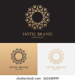 Vector template of logo of hotel brand with floral ornament. Symbol for uses in different spheres. Fashion, royalty, premium, hotel, boutique label.