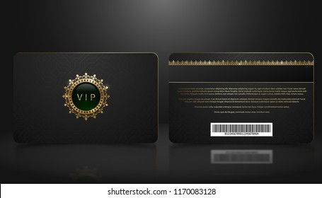 Vector template of membership or loyalty black VIP card with luxury geometric pattern. Front and back design presentation. Premium member, gift plastic card with golden crown, gem, barcode.
