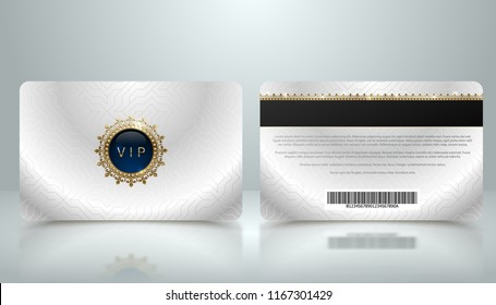 Vector template of membership or loyalty silver metallic VIP card with luxury geometric pattern. Front and back design presentation. Premium member, gift plastic card with golden crown, gem, barcode