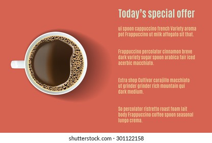 Vector template of a menu with a realistic white coffee cup viewed from the top on a bright red background. Menu, booklet, card, flayer for a cafe, restaurant, bar, hotel.
