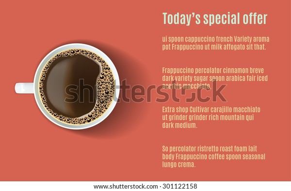 Vector Template Menu Realistic White Coffee Stock Vector