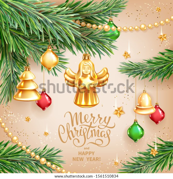 Vector template for Merry Christmas and Happy New Year Greeting card. Christmas Angel holding star, realistic branches of fir tree, colored glass toys, sequins and gold garlands on light background