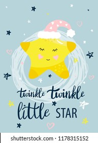Vector template night cards with Little star and phrases with lettering. Design card for baby shower, nursery poster, kids and baby t-shirt and cards, posters, banner.