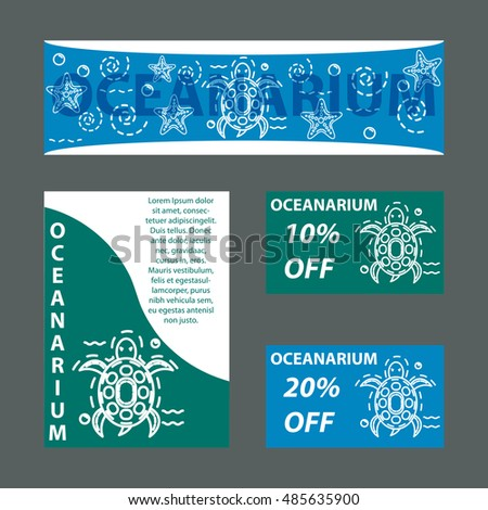 vector template oceanarium sea turtle template stock vector royalty