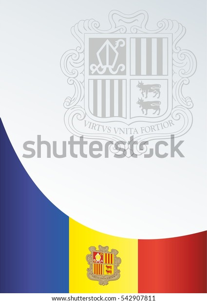 vector template for official papers, awards, descriptions of the flag and the national emblem of the Principality of Andorra