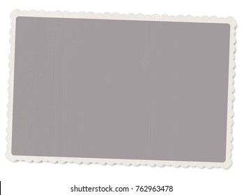 vector template old vintage photo with patterned edges isolated on white background with shadow for design