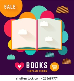 Vector template with open book
