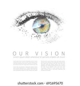 Vector template for Our vision manifesto with digital human eye