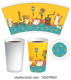 Vector template paper cup for hot drink. Disposable cup for tea or coffee with dishes on the table with a tablecloth in flat style