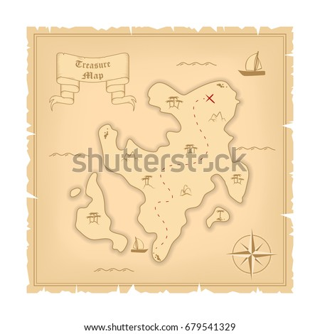 Vector Template Of Pirate Old Treasure Map Illustration Vintage Paper Stylized Manuscript With Islands