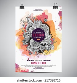 Vector template poster with watercolor paint floral abstract background