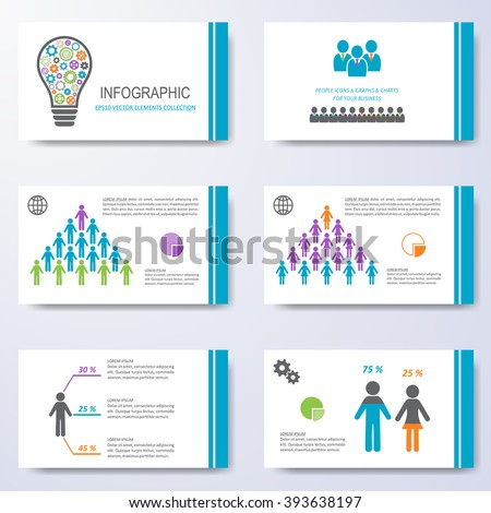 vector template presentation slides demographic icons stock vector