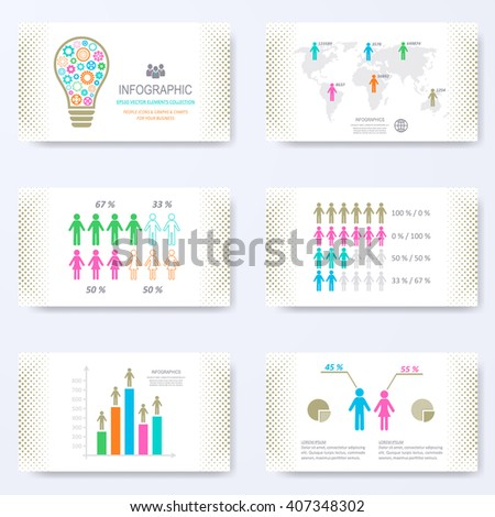 vector template presentation slides demographic signs stock vector