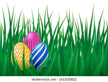 Vector template with realistic green grass meadow and colorful Easter eggs. Cute design for Happy Easter card, template, cover. Spring festive design with decorated eggs.