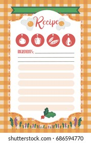 Vector template of recipe card. Kitchen shower card. Vector illustration