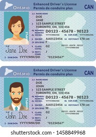 Vector template of sample driver license plastic card for Canada Ontario