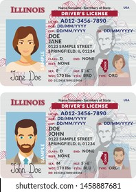 Vector template of sample driver license plastic card for USA Illinois