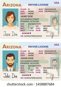 Vector template of sample driver license plastic card for USA Arizona