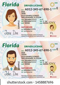Vector template of sample driver license plastic card for USA Florida