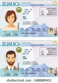 Vector template of sample driver license plastic card for USA Idaho