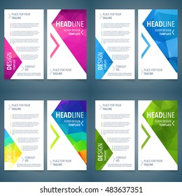 Vector template set of flyer cover or leaflet with triangle background Template design Layout, Booklet, Brochure Design Layout, Flyer Design Layout, Design  Geometric, Abstract Modern Backgrounds