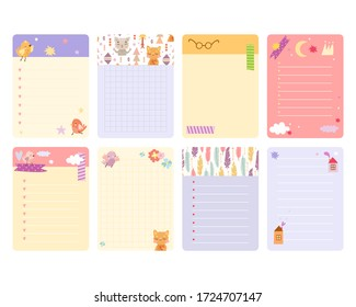 vector template. set of pages for notebooks with cute animals. stationery and diaries. scrapbooking