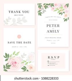 wedding invitation floral invite rsvp cute のベクター画像素材