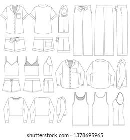 Vector template set for Women's Pajamas