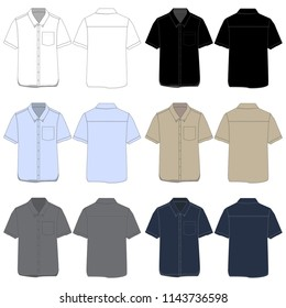 Vector template for Short Sleeved Work Shirts