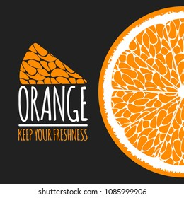 Vector Template with Slice of Orange or Mandarin. Citrus Fruit Icon. Stylized Flesh of Orange in Hipster Style. Delicious Citrus Fruit (Grapefruit, Mandarin) for Illustration, Advertizing, Card.