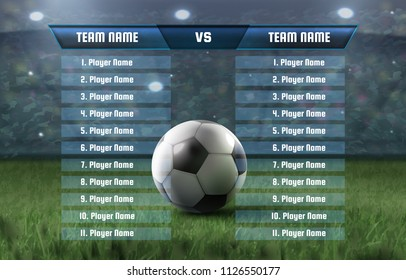 Vector template of soccer players statistics board or football scoreboard and global stats broadcast graphic information score, statistics, shots, offsides, corners, fouls committed ball possession