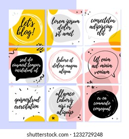 Vector template for social networks trendy blog layout with abstract modern pattern and elements and text spaces - speech bubbles, frames. Hand drawn sketch style. Abstract UI design for mobile app.