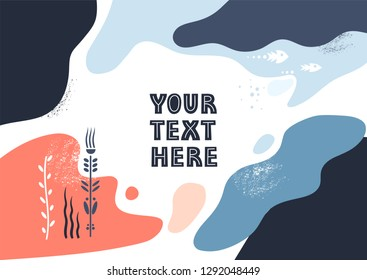 Vector template with space for text. Theme of underwater world, liquid abstract shapes.
