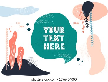 Vector template with space for text. Theme of underwater world, fishes and seaweeds, travel.