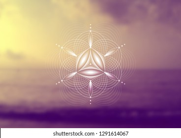 "Vector template; Spiritual sacred geometry; Abstract geometric shape based on ancient symbol - ""flower of life"" on psychedelic natural photographic background; Yoga, meditation and relax."