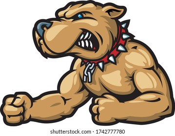 Vector template sport logo for fighting club with angry muscular dog.