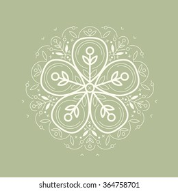 Vector template style organic design image decorative flower flax. Green background. Modern illustration for stores of  clothing, textiles, stuff for children.