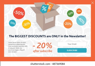 Vector template for subscribe pop up. On shopping theme.