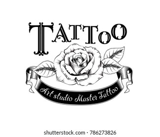 Vector template tattoo studio black logo on white background. Cool retro style emblem. Tattoo studio sign.